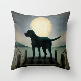 Black Dog Labrador Lake Dock Moon Cottage Cabin Throw Pillow