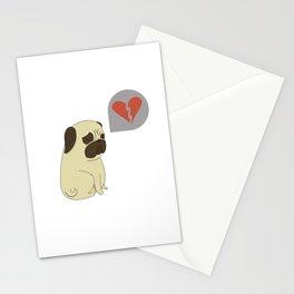 Broken hearted-pug Stationery Cards