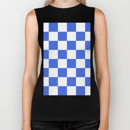Large Checkered - White and Royal Blue Biker Tank