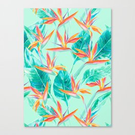 Birds Of Paradise Mint Canvas Print
