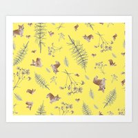yellow corgi holidays and twigs Art Print