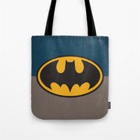bat man Tote Bags featuring Bat-Man by The Retro Inc