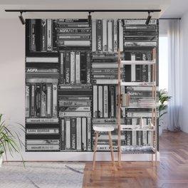 Music Cassette Stacks - Black and White - Something Nostalgic IV #decor #society6 #buyart Wall Mural