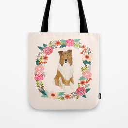 rough collie floral wreath dog breed pet portrait pure breed dog lovers Tote Bag