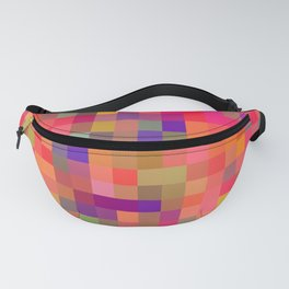 geometric square pixel pattern abstract in pink blue yellow Fanny Pack