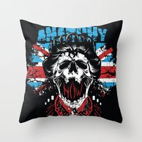anarchy Throw Pillows featuring Anarchy queen by Tshirt-Factory