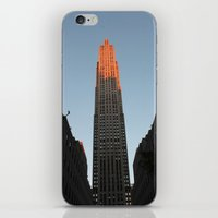 30 rock iPhone & iPod Skins featuring New York - 30 Rock in Pink by Shoelock