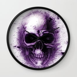 Purple Abstract Skull Wall Clock