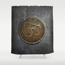 The sound of the Universe. Gold Ohm Sign On Stone Shower Curtain
