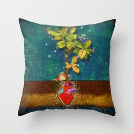 even though i buried my heart, my love has blossomed Throw Pillow