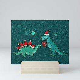 Cute Christmas Dinosaurs with Gift, Santa's Hats and Falling Stars, Teal Green Colors Mini Art Print