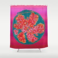 pomegranate Shower Curtains featuring Pomegranate by bravo la fourmi