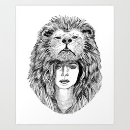 Lion Lady Art Print