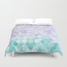 Mermaid Iridescent Purple and Teal Pattern Duvet Cover