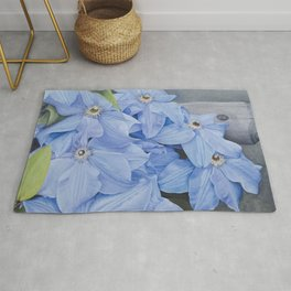 Blue Clematis Flowers on Knotted Fence Post Rug