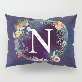 Personalized Monogram Initial Letter N Floral Wreath Artwork Pillow Sham