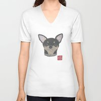 chihuahua V-neck T-shirts featuring CHIHUAHUA by Bless Hue