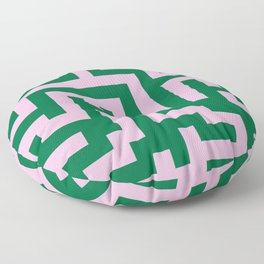 Cotton Candy Pink and Cadmium Green Labyrinth Floor Pillow
