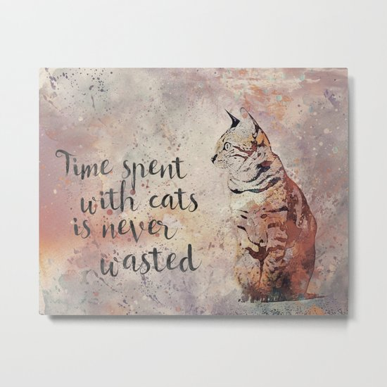 Time spent with cats is never wastet Metal Print
