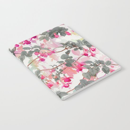 Rainbow Fuchsia Floral Pattern - with grey Notebook