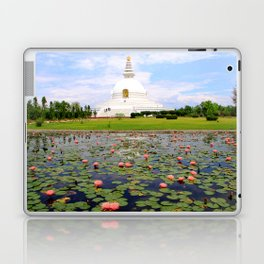 World Peace Pagoda with Lotus Flowers Laptop & iPad Skin