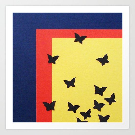 Butterfly Squares Papercut Art Print