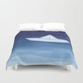 Paper boats illustration Duvet Cover
