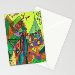 A Community House Boat on the Sea Stationery Cards