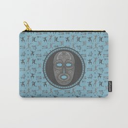 Aboriginal Mask and pattern - Pastel Blue and grey Carry-All Pouch