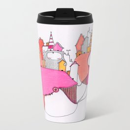 Pink city lights Metal Travel Mug