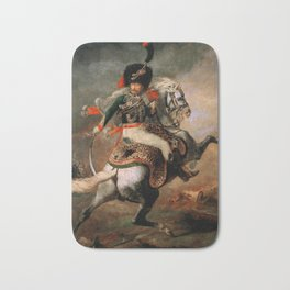 "Théodore Géricault ""Officer of the Chasseurs charging on horseback"" Bath Mat"