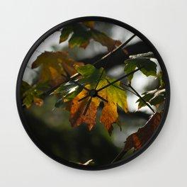 Rainbow Leaf Wall Clock
