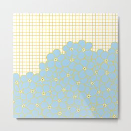 Forget Me Knot Gold Grid Metal Print