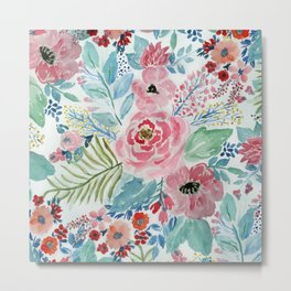 Pretty watercolor hand paint floral artwork. Metal Print