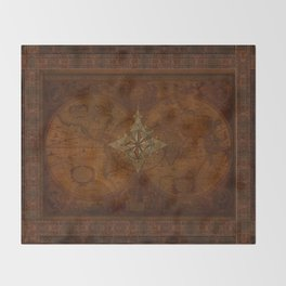Antique Steampunk Compass Rose & Map Throw Blanket
