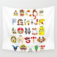 super mario Wall Tapestries featuring Super Mario Alphabet by Mike Boon
