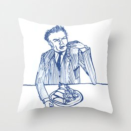 Fellini eating cannoli Throw Pillow