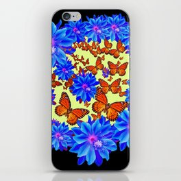 Blue Flowers Butterfly Black Color art iPhone Skin