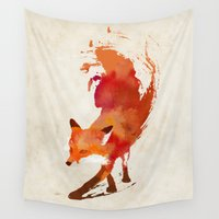 jazzberry blue Wall Tapestries featuring Vulpes vulpes by Robert Farkas