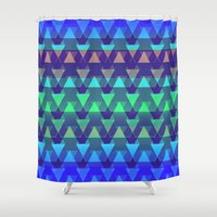arya Shower Curtains featuring Triangles Folded by Hinal Arya