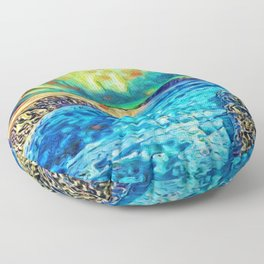 A Polar Experience   Northern Lights and River - Abstract Oil Painting Floor Pillow