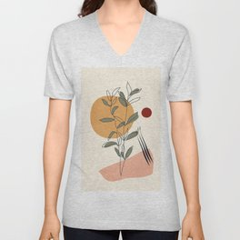 Minimal Line Young Leaves Unisex V-Neck