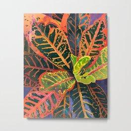 Coral Croton Tropical Plant Leaves | Modern Garden Art Print Metal Print