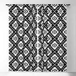 Aztec Symbol Pattern White on Black Blackout Curtain