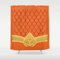 aquaman Shower Curtains featuring I Am Aquaman by Alex Boatman