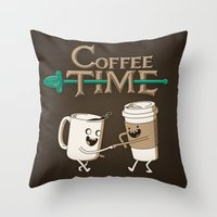 coffee Throw Pillows featuring Coffee Time! by powerpig