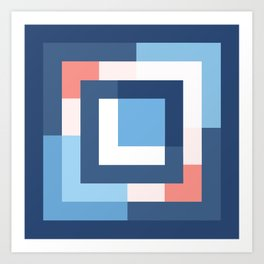 Squares Navy Art Print