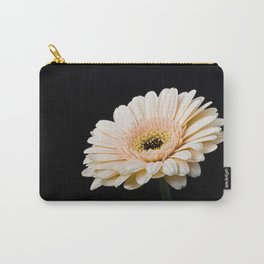 Peach Gerbera Daisy On Black Carry-All Pouch