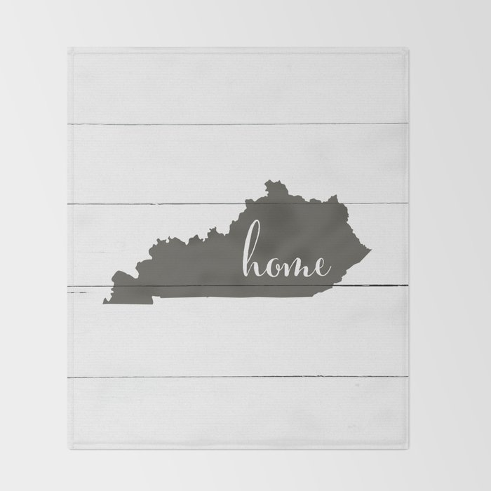 Kentucky is Home - Charcoal on White Wood Throw Blanket