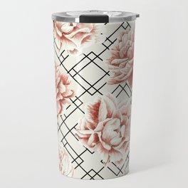 Simply Mod Diamond Roses in Cream and Black Travel Mug